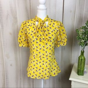 Girls from Savoy Lemon Liftoff Yellow Owl Blouse